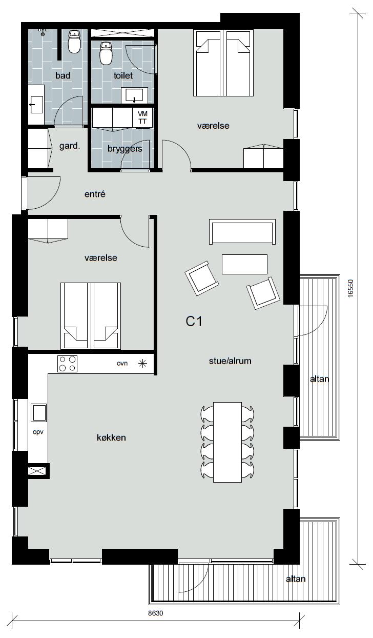Boligtype C1, altan